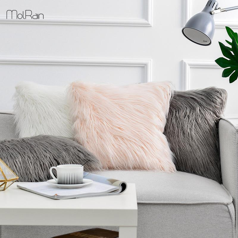 Longue peluche Coussin Fluffy Oreillers cas doux et chaud Canapé-lit Coussin forme carrée haute qualité coussins Dropship