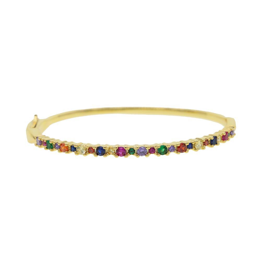 Pulseira para CZ Gold Baguette Engajamento Mulheres mistura 17-19cm lindo arco-íris cor cor cor de cor jóias moda hecgj