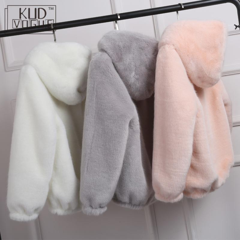 Inverno quente New falso vison Casual Brasão Mulheres Faux Fur com capuz Furry pele falsa Ladies Jacket Zipper rosa Outwear Plus Size