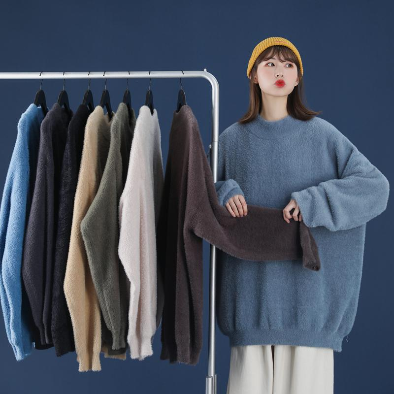 Pull mohair épais femmes vêtements d'hiver 2021 couleur solide Cachemmere O-Cold Pull Pullover Fashion Femmes Sweaters Unisexe Jumper