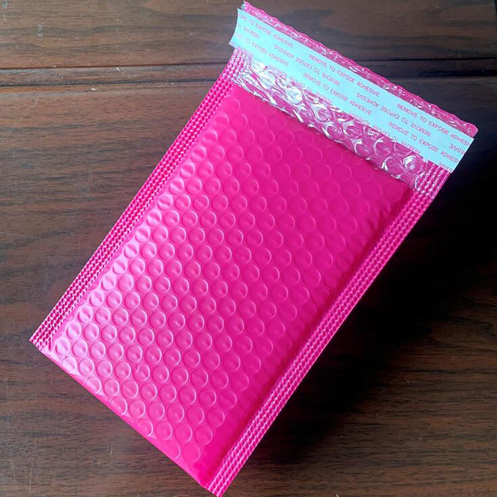 100 pcs bolha mailers acolchoado envelopes pérola película presente presente correio saco de envelope para livro revista alinhado mailer auto selo rosa h jllmps