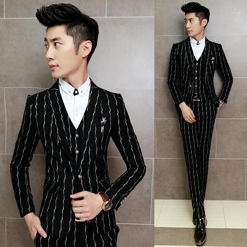 Мужские костюмы Blazers высококачественные полосатые мужчины набор из трех частей, деловая свадьба мужская с брюками и жилью Slim Fit Blazer Pook1