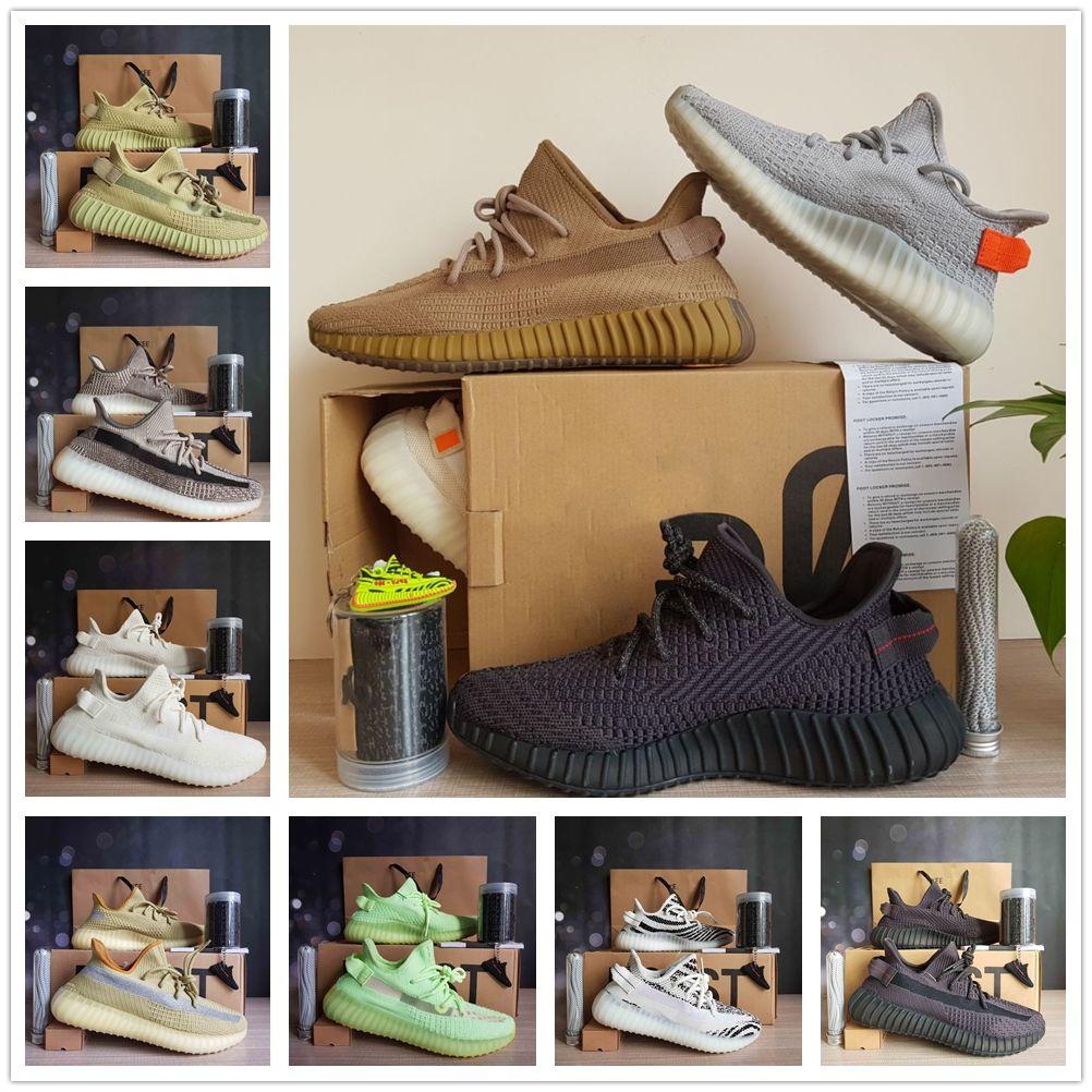 Kanye West V2 Top Quality Sapata Running Yeezreel Preto Reflective Cinder Yecheil Creme Branco estática Terra Homens Mulheres Trainner Sneakers 36-48