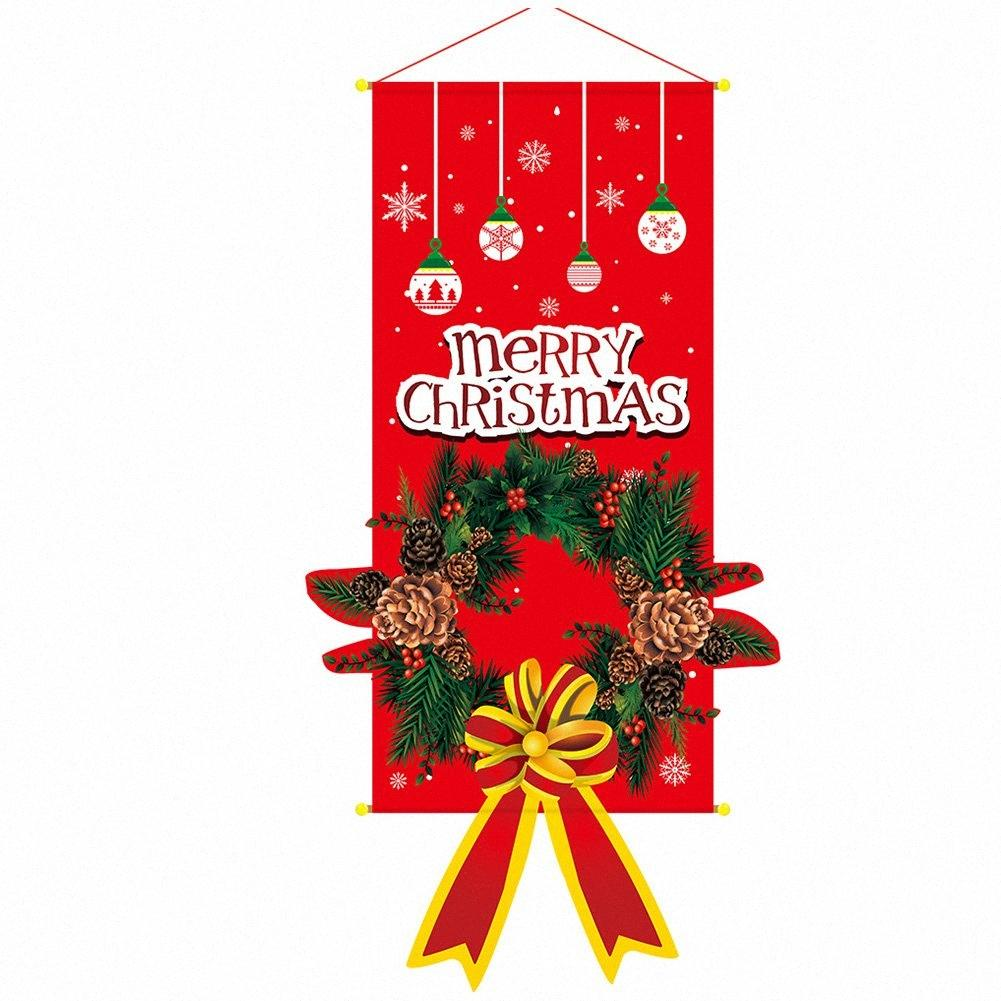 Hanging Decoration Gifts Wall Flag Cloth Door Banner Window Reusable Ornaments Party Home Santa Claus Christmas Christmas Home Decorat b7Db#