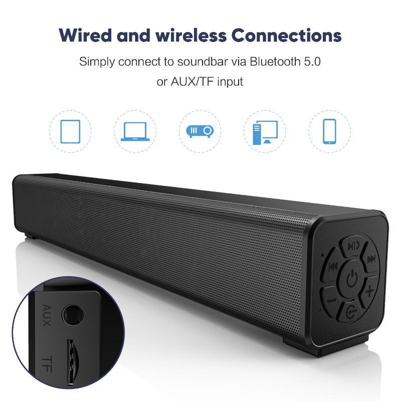Long Bluetooth Speaker Sound Blaster Hi Fi TV Audio Home Theater Echo Wall Subwoofer Woofer Usb Speakers