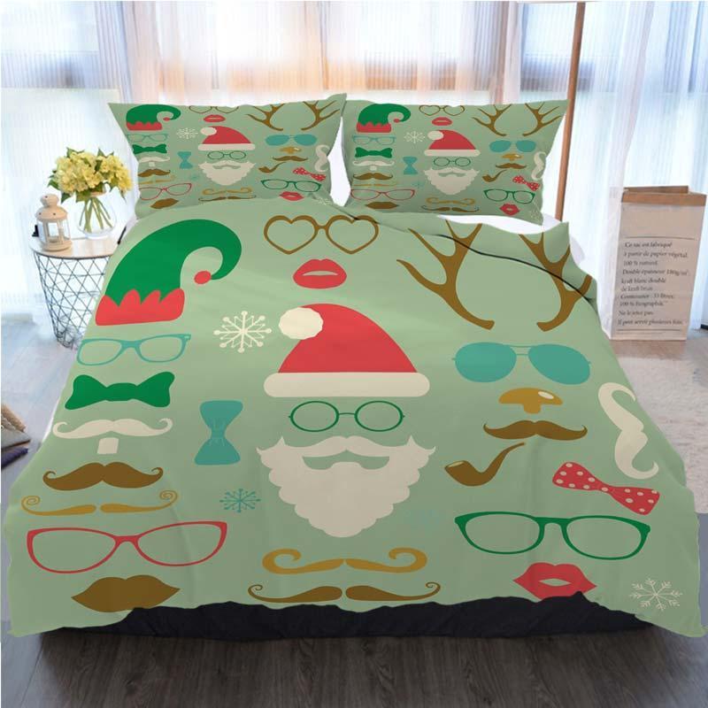 Noel Yatak 3 Adet Nevresim Noel Renkli Moda Silhouette Seti Ev Lüks Yumuşak Yorgan Yorgan Kapak İkiz ayarlar