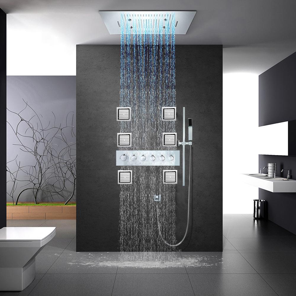 큰 물 흐름 샤워기 수도꼭지는 강우 욕실 대형 샤워 시스템 온도 조절 샤워 믹서 600 * 800mm 샤워 패널을 설정합니다