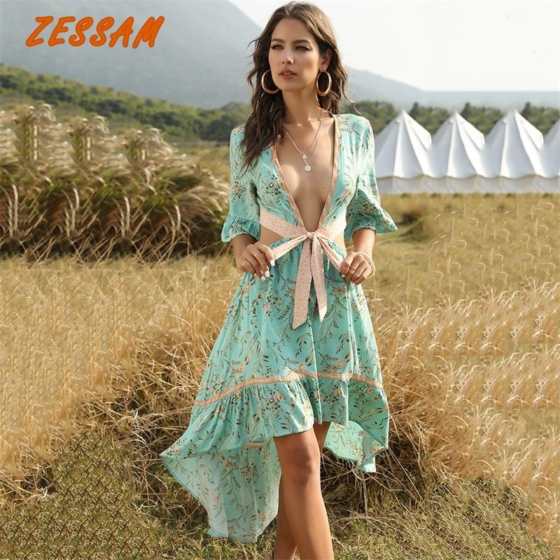 Zessam Sexy Impressão Floral Midi Dress V-Neck Meio Ruffled Mola Primavera Verão Mulheres Vestido Vintage Chic Boho Beach Vestidos T200604