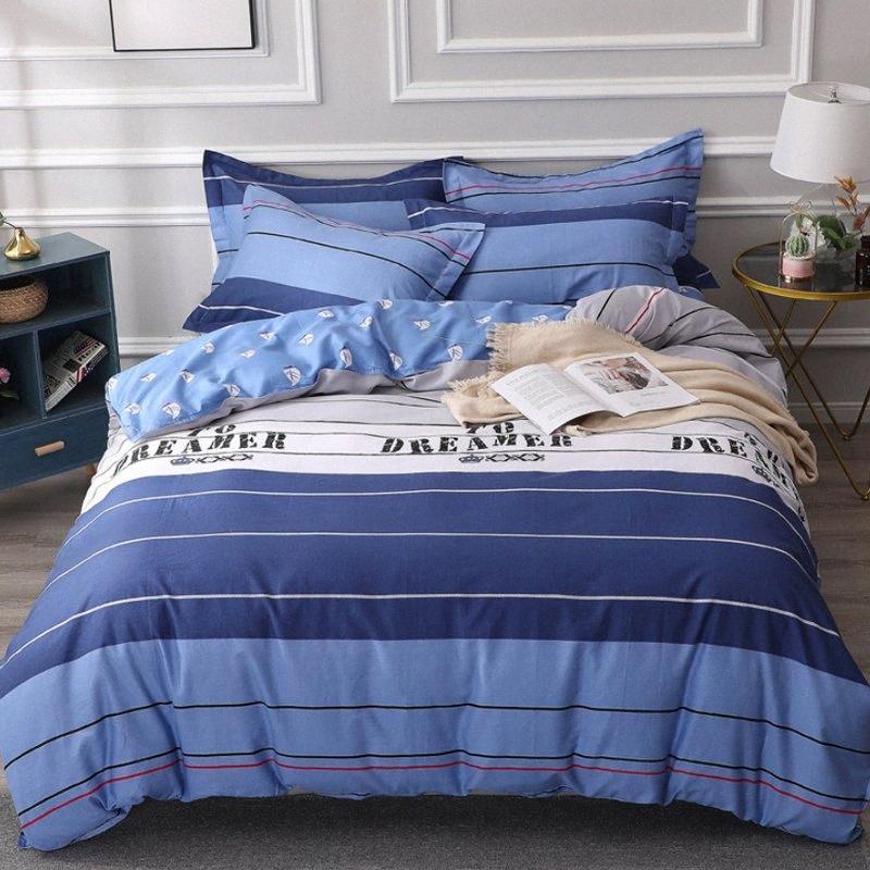 Folha de cama geométrica roupas de cama de algodão conjunto de cama plana Estrela cama Set Bed Cover Set Confira Tamanho da capa do edredon DHL completa capa de edredão Bedd 00IZ #