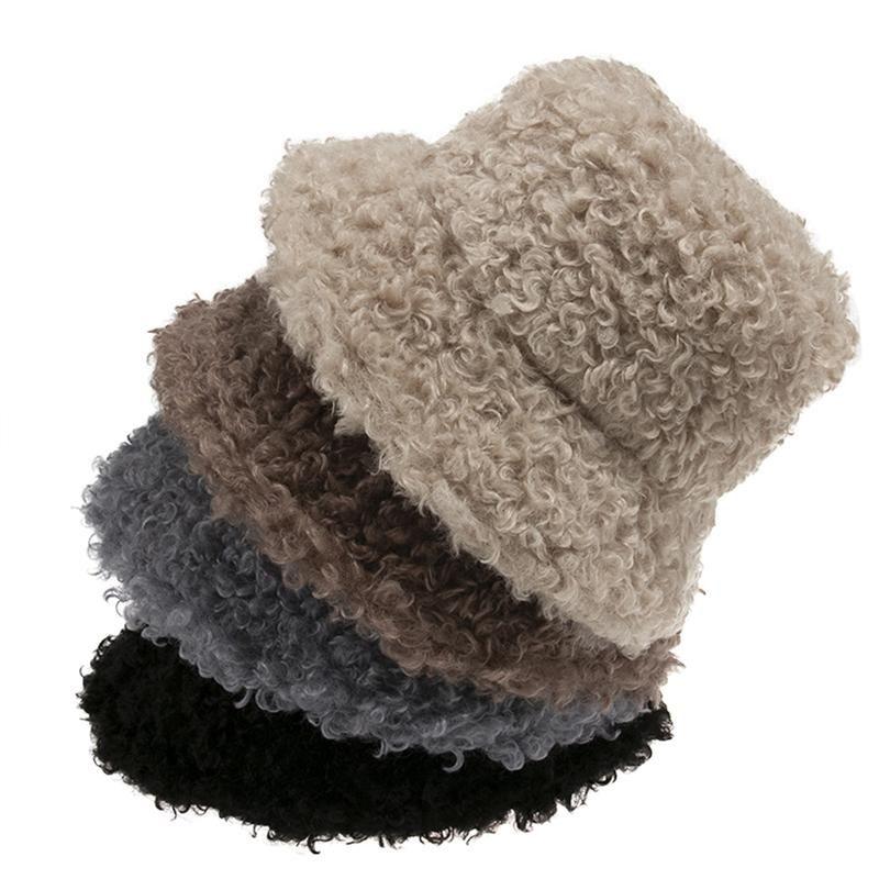 Chapeaux larges chapeaux femmes feutre chapeau faux fourrure hiver seau pour fille mode solide épaissie douce chaude chaude capuchon de pêche en plein air peluche moelleuse