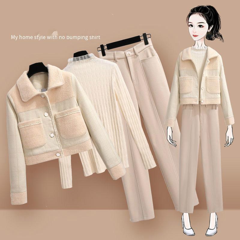 Femmes 2020 Automne Hiver Nouveau 3 Costumes Piece Fenale Patchwork outwears et Solid Color Pull Avslappnad sarouel Ensembles Q161