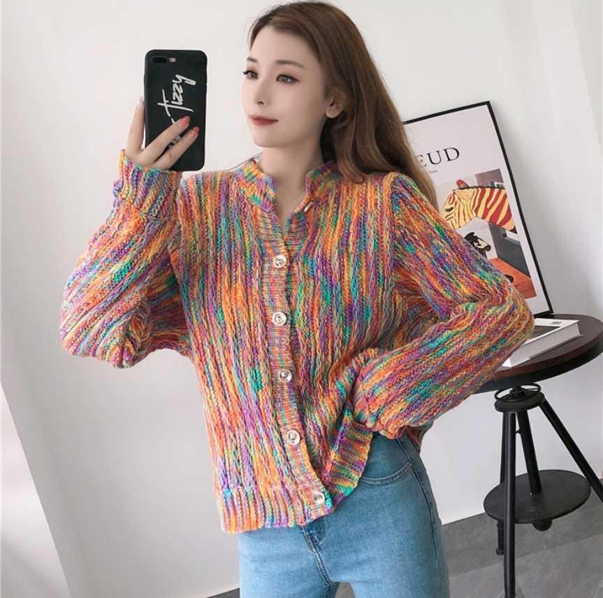 Kadın Knits Tees 2021 Kontrast Renk Örme Kazak Kadın Gevşek Dış Aşınma Sonbahar Tembel Gökkuşağı Hırka Ceket Üst Trend