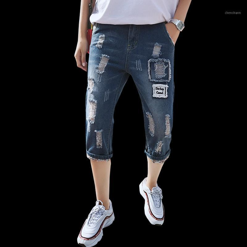 2019 New Fashion Mens Squipped Jeans Hole in cotone in cotone traspirante denim pantaloncini casual semplici jeans angosciati Bermuda Masculina1
