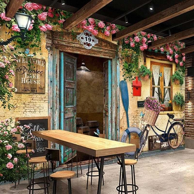 Drop Shipping personnalisés 3D Photo murales Nostalgique Rétro style européen Bike Building fenêtre Fleurs Photo Wallpaper Mural Décor GSBP #