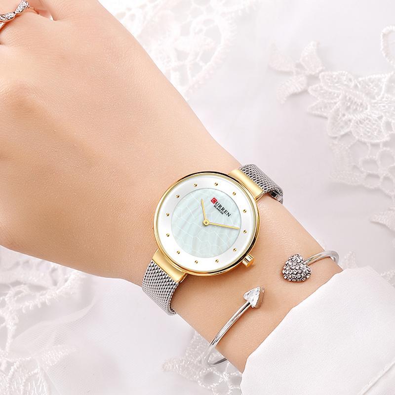 Kreative Zifferblatt Uhren Frauen Quarz Uhr Curren Frauen Stahl Mesh Armbanduhr Damen Kleid Armbanduhr Weibliche Bayan Kol Saati Y1220