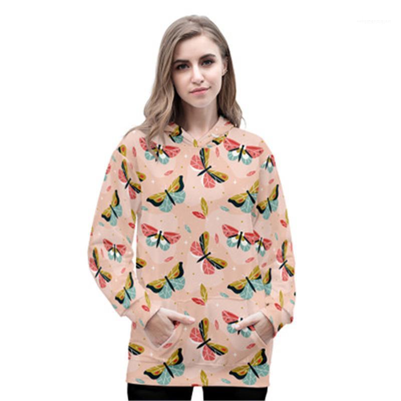 Lässige Hoodies Frauen Schmetterling Hoodies Sweatshirts Mode Trend 3D Digital Langarm Rundhals Hals Kapuze Pullover Designer Weibliche Lose