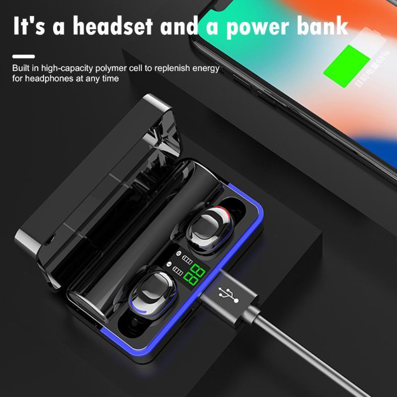 Беспроводные наушники Цифровой дисплей Водонепроницаемая-вкладыши стерео Мини Громкая 6D Bass Наушники с 2200mAh Зарядка чехол