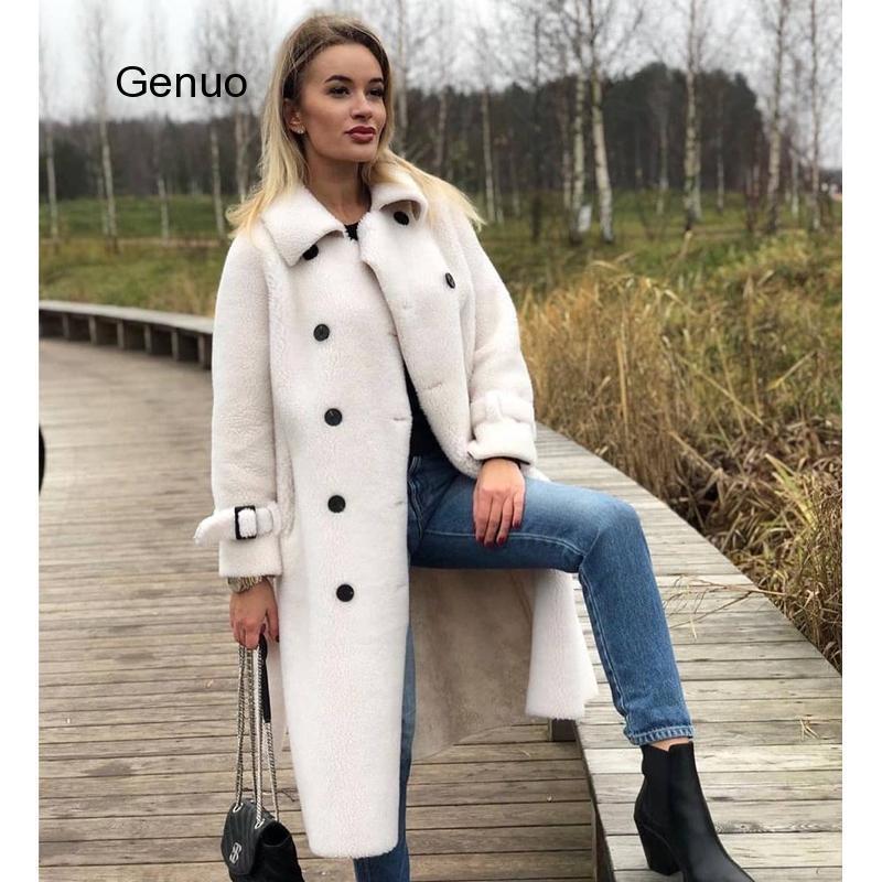 Lange Wolljacke Gefälschte Schaf-Pelzmantel Umdrehen Kragen Frauen Mäntel Faux Schaffell Weibliche 2020 Winter Neues Outfit mit Gürtel