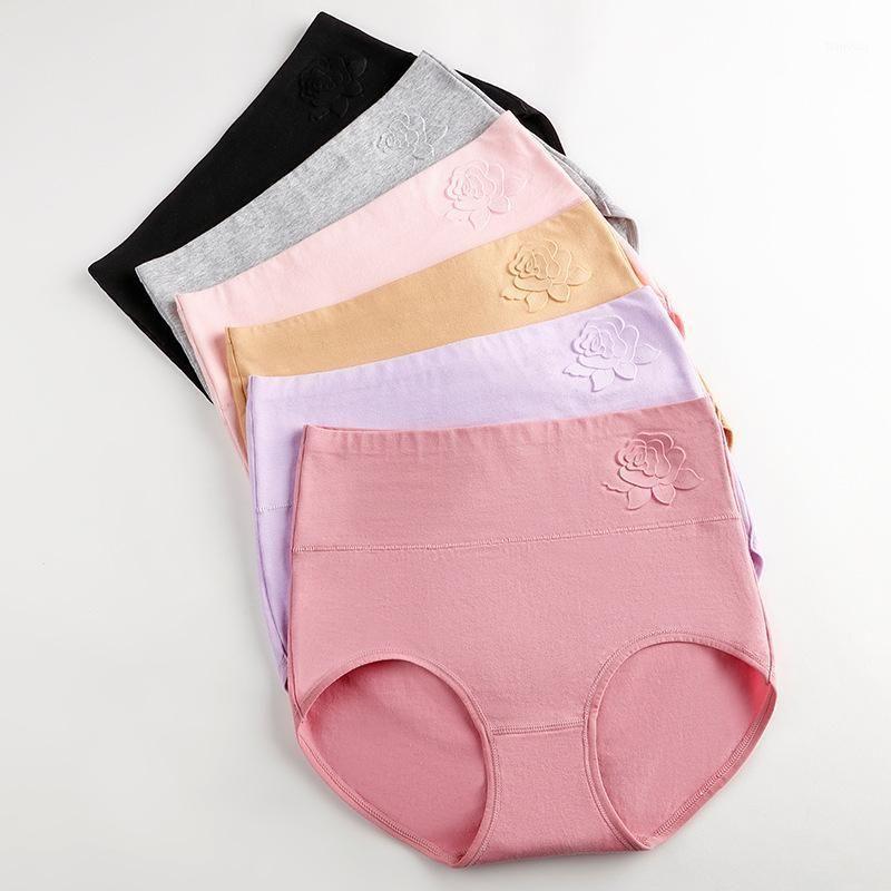 Qa354 taille plus taille minceur de lingerie culotte solide décontracté de coton sous-vêtement femme haute taille respirant slips 9 couleurs1