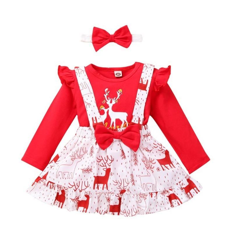 Baby Girl Set Kids Miúdos Manga Longa + Dos Desenhos Animados Mangas Flared Tops Padrão Elk Strap Skirt com Headband 3pcs Outfitsx1019