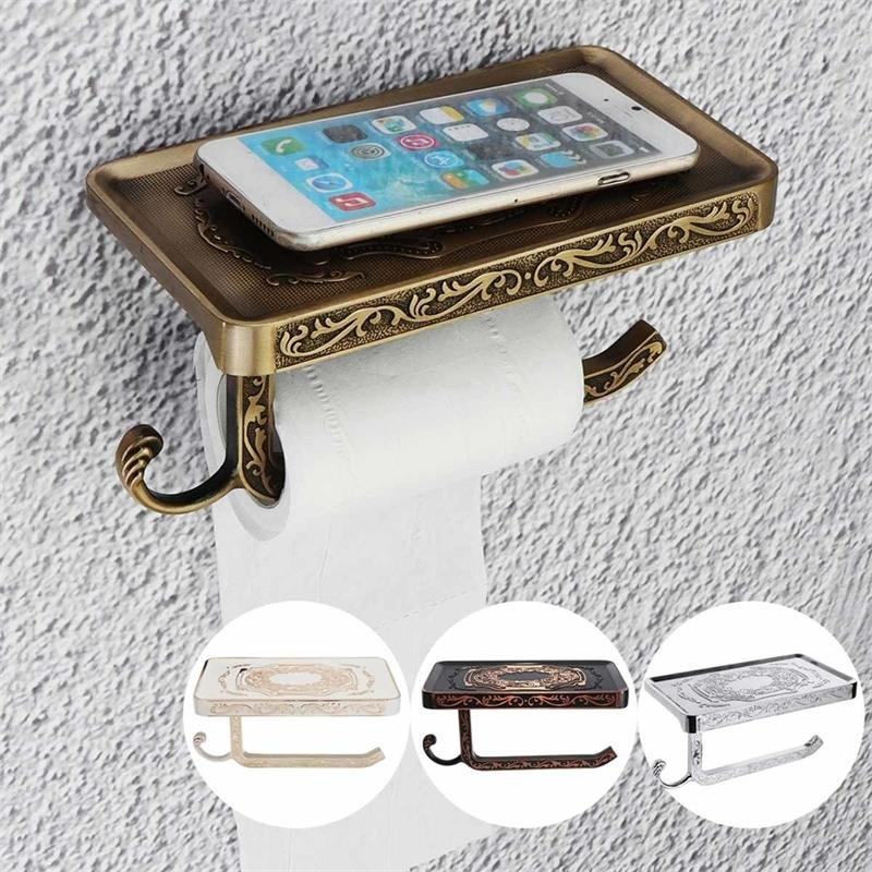 Retro WC Space Aluminum Bathroom Toilet Towel Paper Hook and Phone Holder Mount Y200108