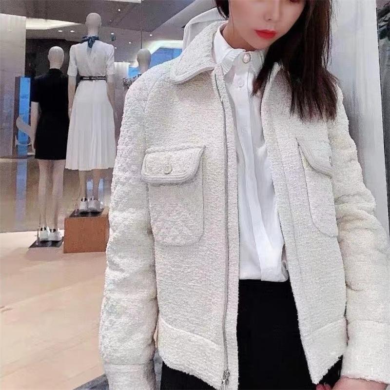 Women Tweed Short Jacket Autumn Winter New Turn-down Collar Long Sleeve Slim Coat with Double Pockets 201109
