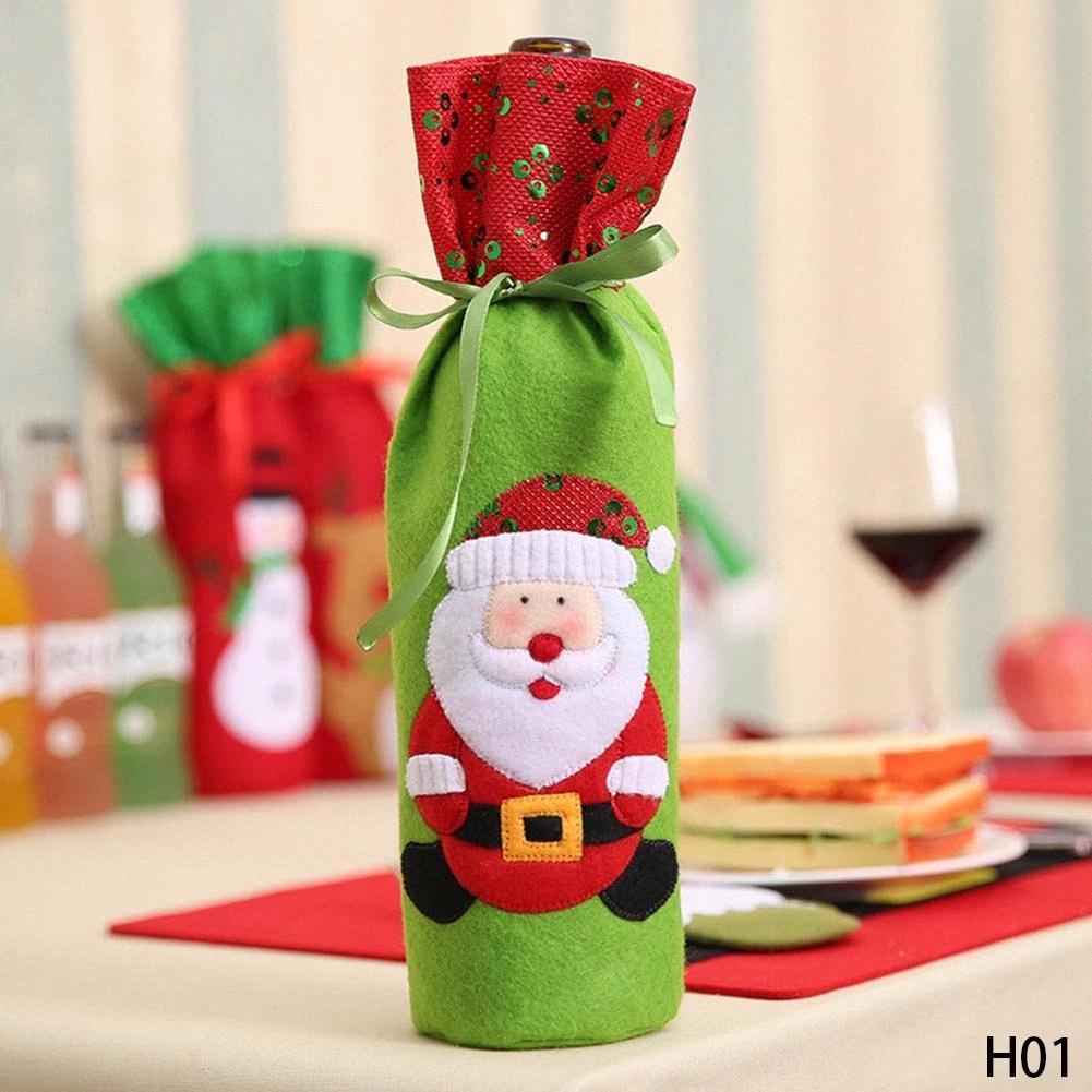 1PC Новогодние украшения для дома Санта-Клаус бутылка вина Обложка сумка Санта Sack Украшение dW0P #
