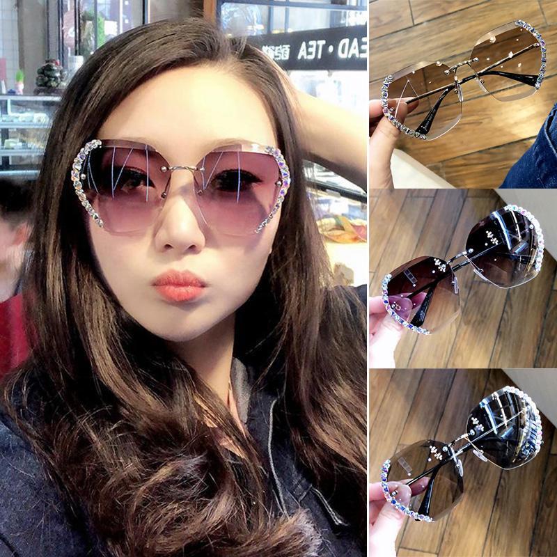 Klassische Randlose Sonnenbrille Frauen Metall Diamant Schneidlinsen Sonnenbrille UV-Schutz LL @ 17