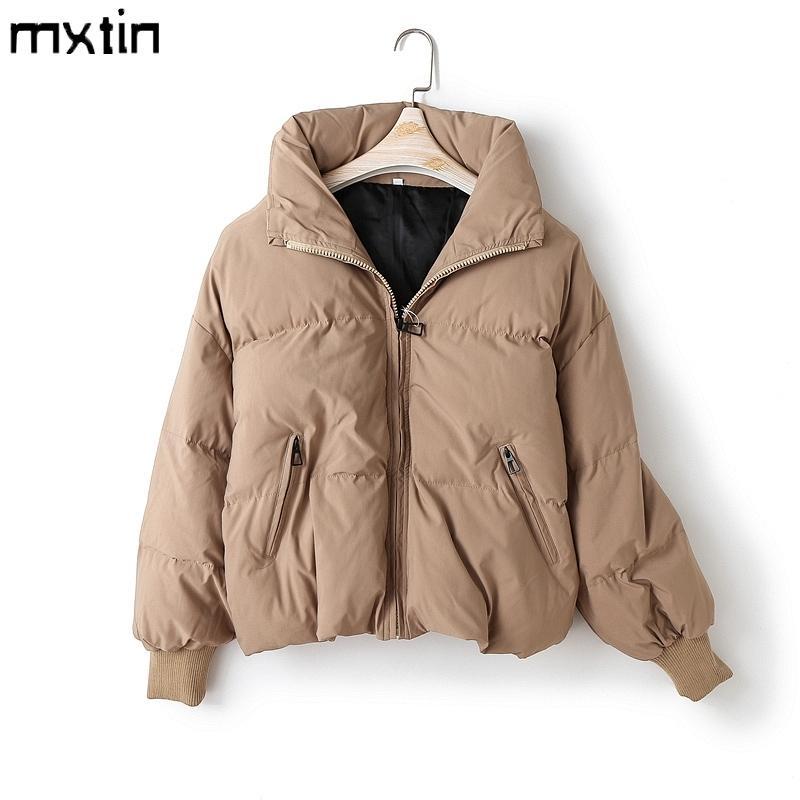 Bayan Kış Katı Mont Kadınlar Pamuk Casual Ceketler Sıcak Parkas Kadın Palto Ceket Sıcak Boy Bayan Rahat Top 201027