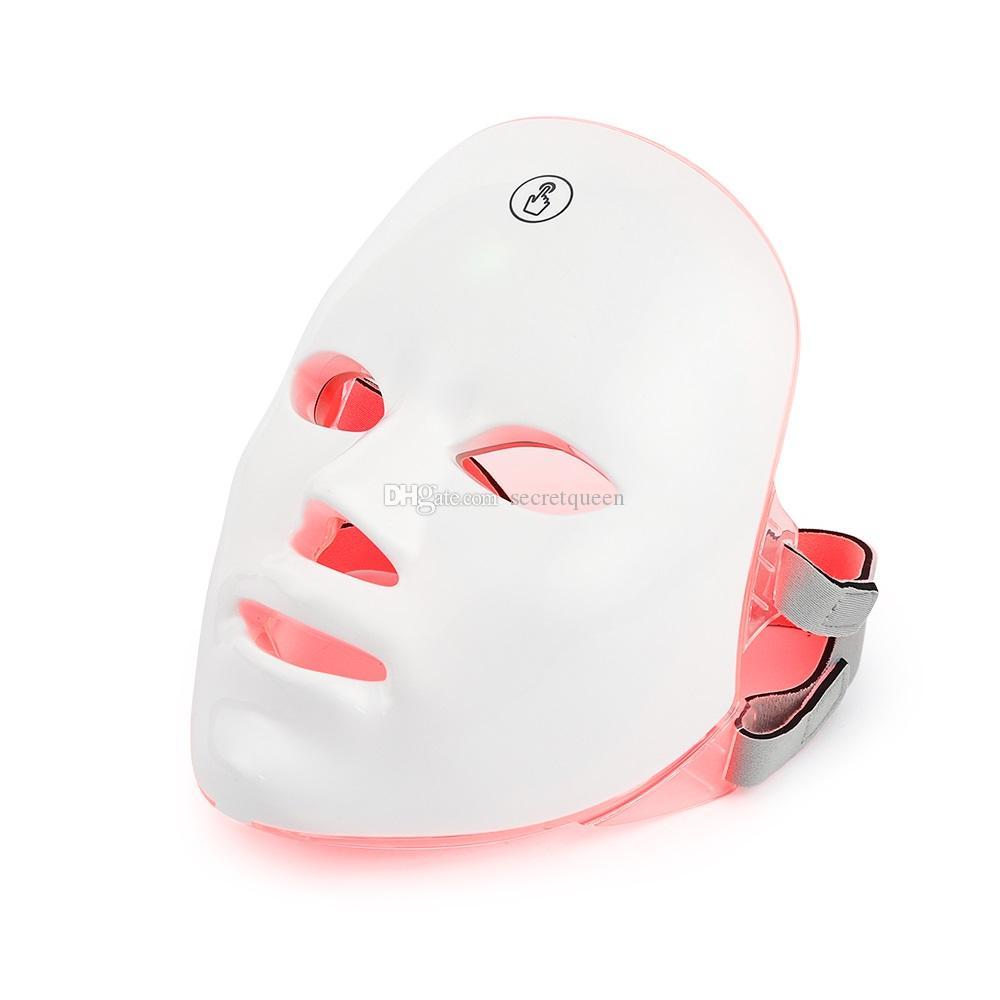 Spike 7 цвета LED фототерапия красота лица машины LED маска для лица шеи с микротоковым отбеливанием кожи устройство DHL бесплатной доставкой