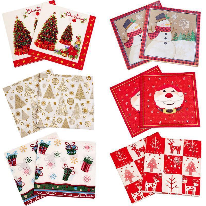 Appleware monouso 20pcs Carta natalizia Tovaglioli natalili Christams Tree Babbo Natale Tableware Tissue per Anno Xmas Party Home Decor 33 * 33cm1