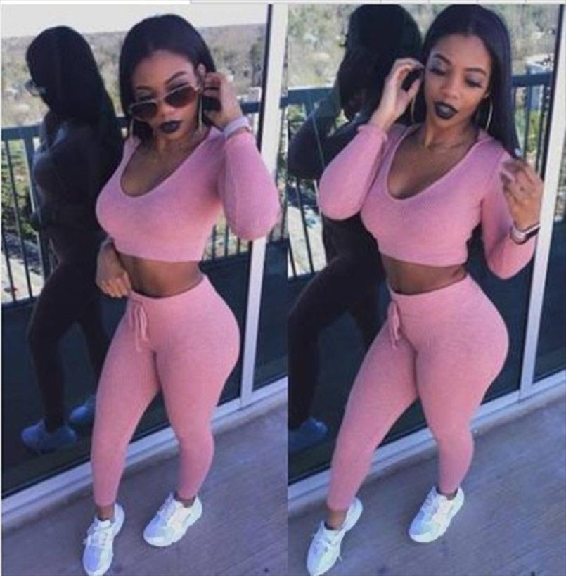 Frauen Anzug Outfit 2 Zweiteiler Crop Top Legging Jogginghose Set Gelegenheits Crop Hoodiesatz Female Sweatshirt Hose Anzug