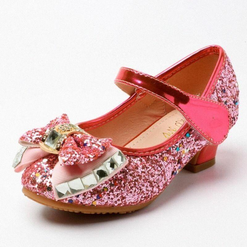 Kinder Lederschuh-Mädchen-Hochzeits-Kleid-Schuh-Kind-Prinzessin Bowtie Blau Leder Sandalen für Mädchen beiläufige flache Sandalen Cc9u #