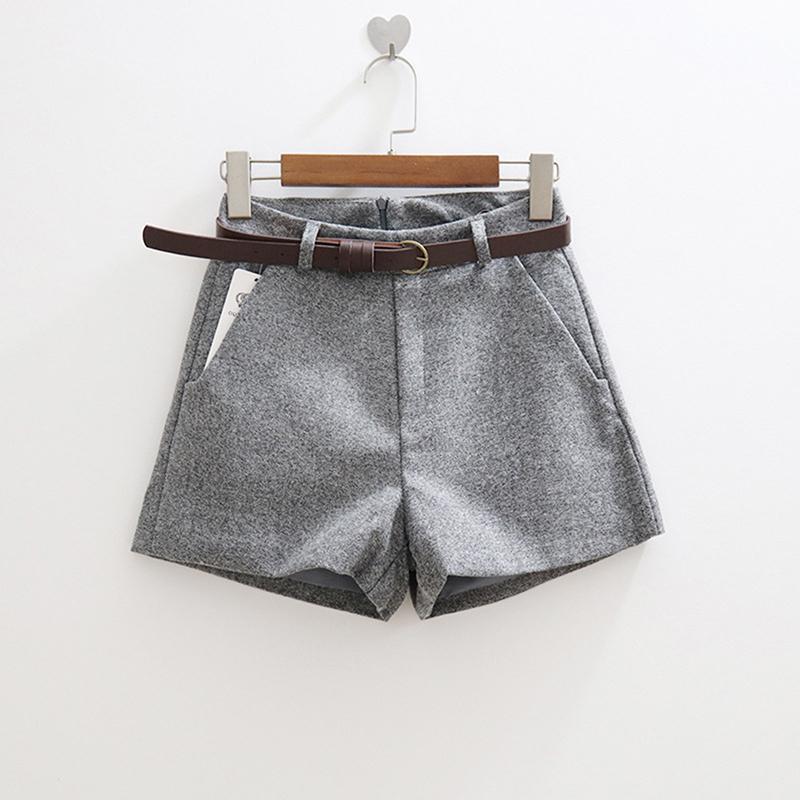 Novo casual confortável elegante shorts selvagens com cinto feminino shorts de lã outono inverno magro perna larga uma linha bigsweety