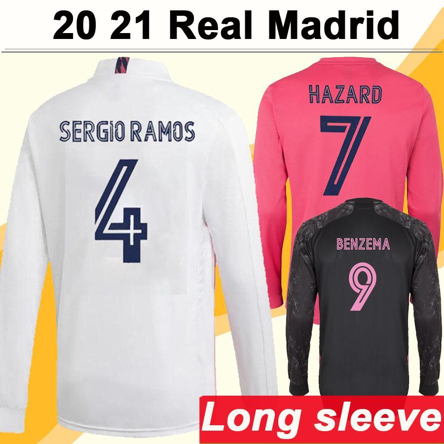 20 21 Real Madrid HAZARD MODRIC Langarm Herren Fußballtrikots SERGIO RAMOS BENZEMA ISCO BALE MARIANO Auswärts 3. Fußballtrikot Uniform