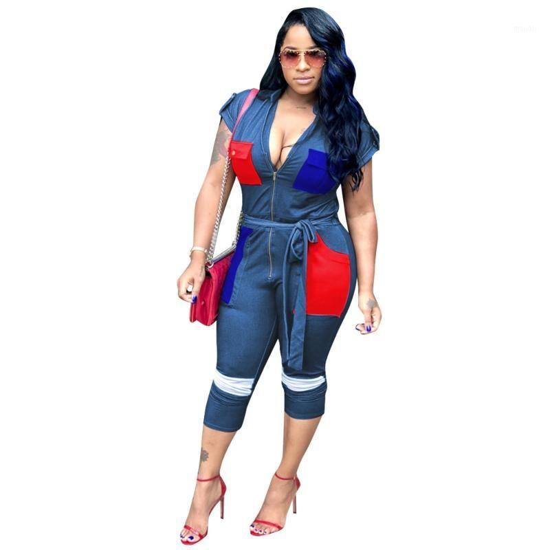 Patchwork colorato tasca da donna tuta tuta cerniera con scollo a V sexy slim outfit bodycon streetwear cintura per cintura con playsuit tascabile1
