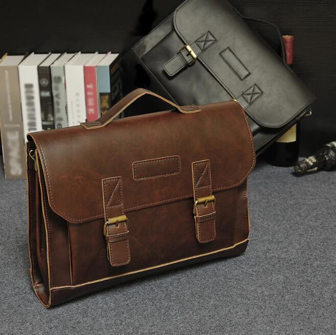 bolso de cuero de caballo loco diseño original maletín de negocios bandolera clásica de los hombres