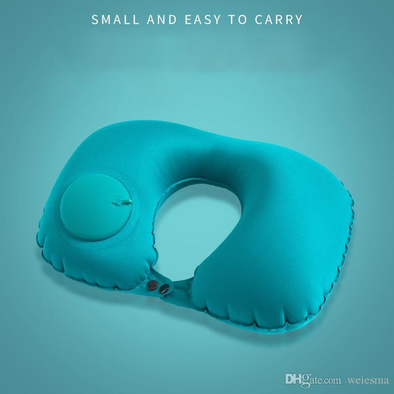 Free DHL/UPS New hot selling push type inflatable u air pillow core office pillow creative portable neck pillow