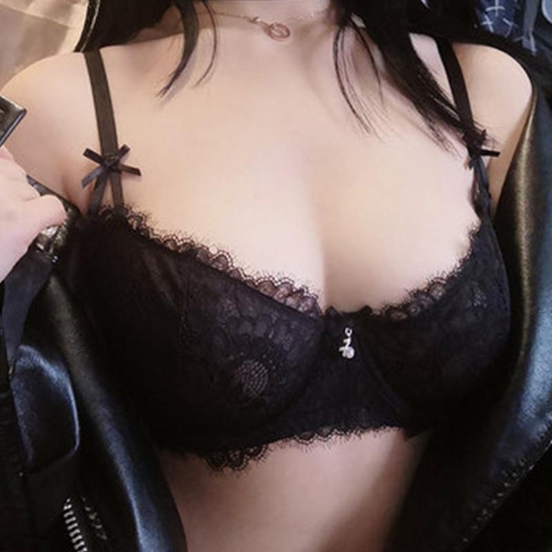 Shaonvmeiwu Set de encaje sexy transparente. Un sujetador delgado con pechos grandes lo hace ver más pequeño Y200708