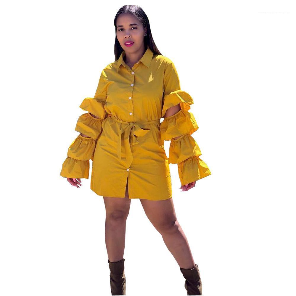 Robes dames Vêtements d'automne femmes lanterne manches Robe chemise avec Jupettes évider Lapel Neck solide