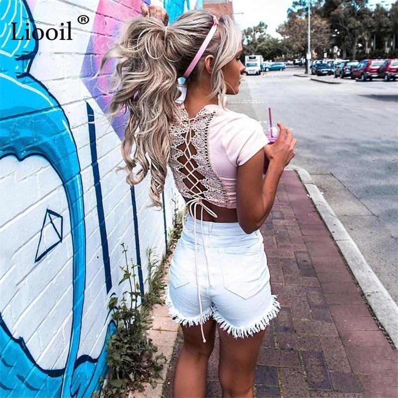 Liooil Summer Tassel Denim Black Red Skinny High Waisted Button Pockets Casual Women White Jean Shorts Y200512