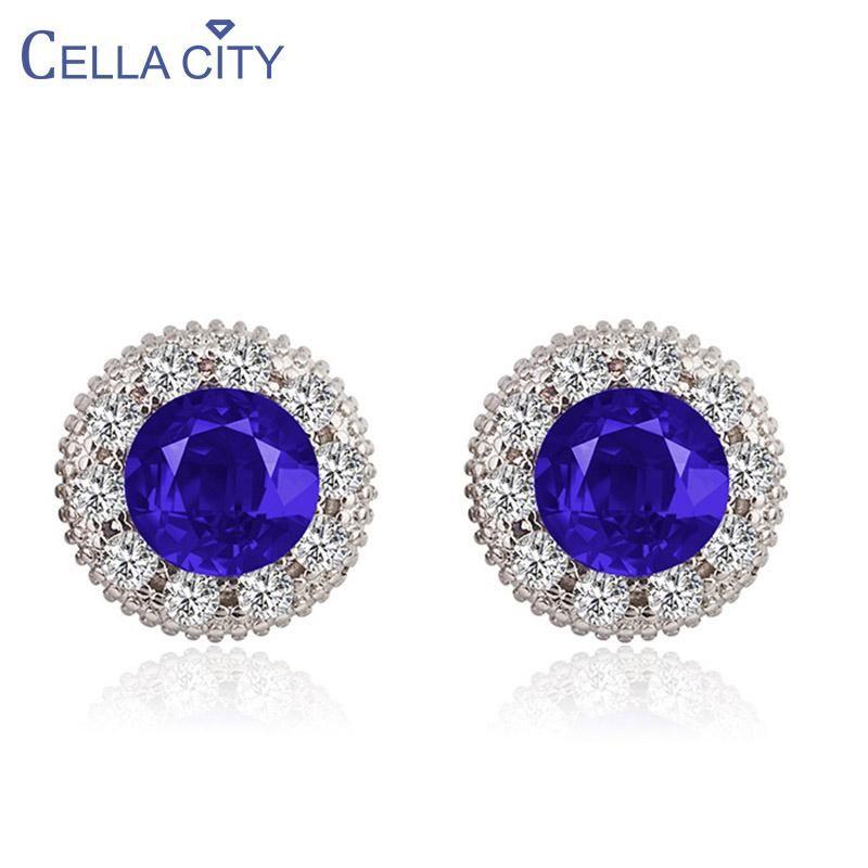 Серьги со стерлингового серебра 925 для очарования Леди с круглой формы синий сапфир драгоценные камни циркона ювелирные изделия оптом подарок