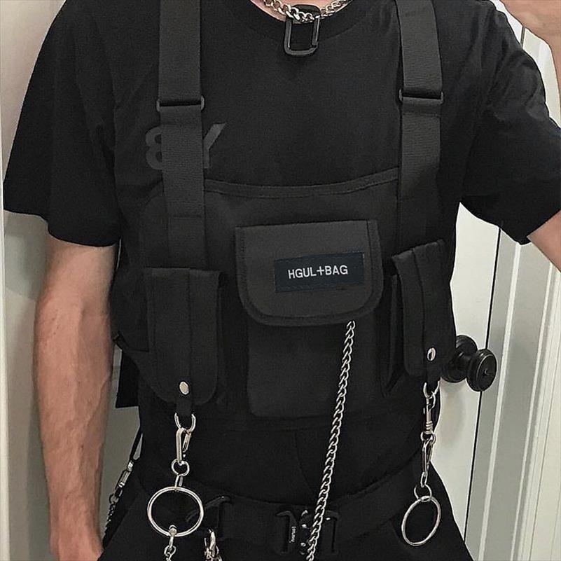 paquete de la cintura del pecho del aparejo de Hip Hop de Calle paquete funcional táctico militar pecho bolsa de la cintura de la Cruz Soulder bolsa de Kanye West 2019