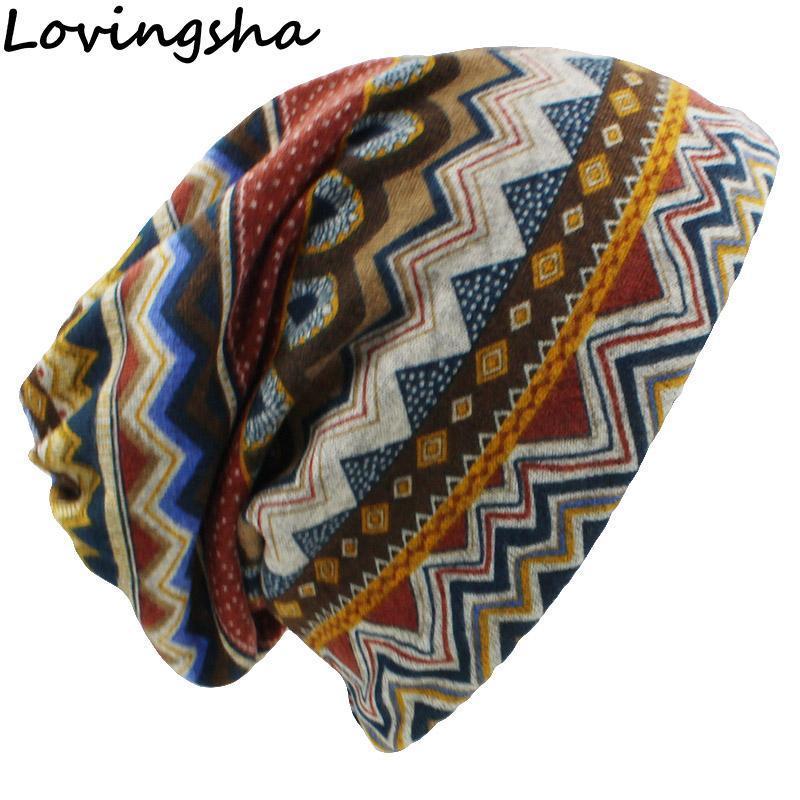 LOVINGSHA Automne Hiver Skullies Vintage Design Beanies à double usage pour dames casquettes pour femmes mince Girl Fashion Feminino écharpe HT069
