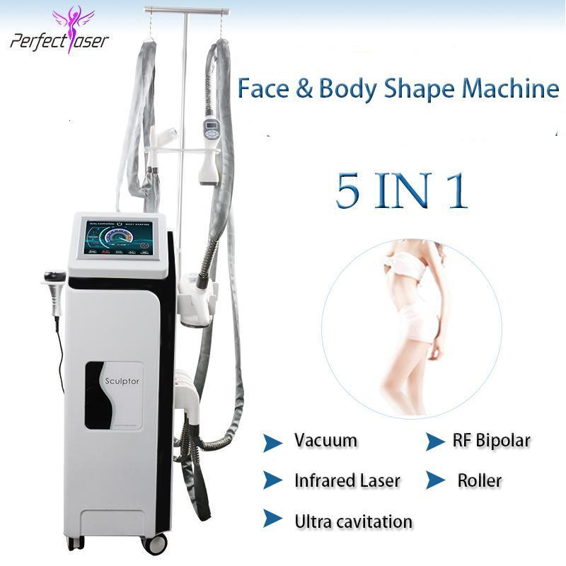 Sistema de forma de corpo de rosto mais popular 5 em 1 máquina de rolo de vácuo emagrecimento gordura cavitação de vácuo vácuo máquina rf