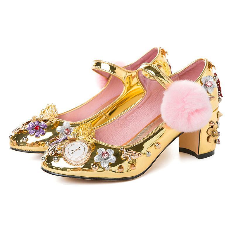 Весна лето горный хрусталь обувь Женщины цветок драгоценностями алмазов заклепки помпонами на высоких каблуках Насосы для новобрачных зеркало металла свадебные туфли