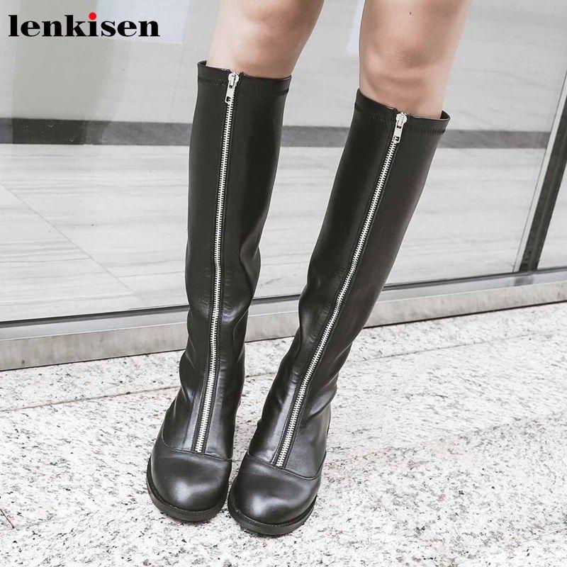Lenkisen sıcak popüler rock Fermuar inek derisi streç çizme topuklu yuvarlak burun kadınlar kış siyah renkler uyluk yüksek çizmeler med L29