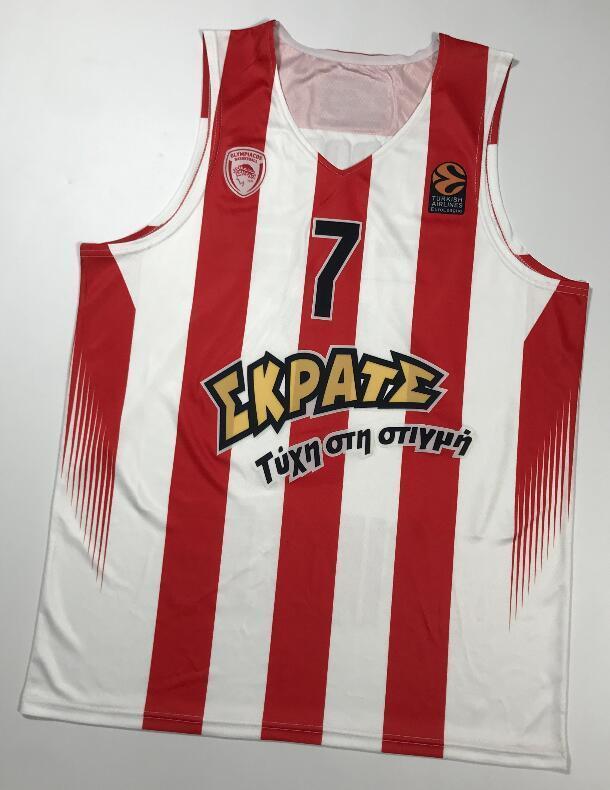 NCAA print Vassilis Spanoulis #7 Olympiacos Olympiakos Euroleague Piraeus Retro Basketball Jersey Men's Stitched Custom Any Number Name Jers