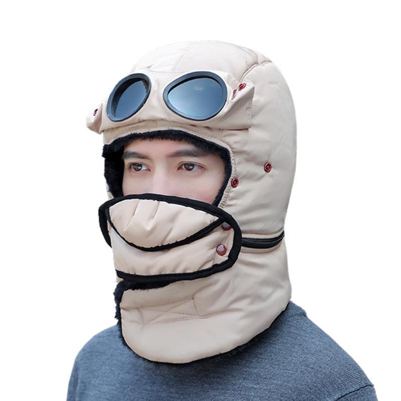 Antivento caldo di inverno Trapper Hat Uomini Donne Ushanka Bomber Cap con maschera di protezione Occhiali Buff per Escursionismo Sci Snowboard