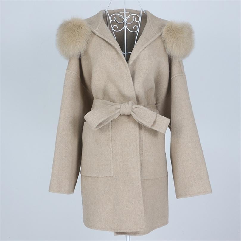 Oftbuy Yeni Boy Gevşek Kaşmir Yün Karışımları Gerçek Kürk Kış Ceket Kadınlar Doğal Fox Kürk Yaka Hood Giyim Kemer 201215